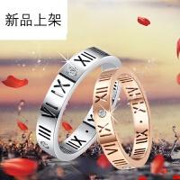 2018抖音网红新品情侣戒指一对 镀18K玫瑰金色罗马数字食指关节戒指环男女式可做项链情人节礼物