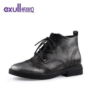 依思q新款圆头粗跟中跟短靴复古系带潮流女靴子