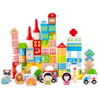 积木宝宝早教儿童积木玩具3-6周岁木马智慧80粒大块桶装实木
