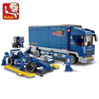 小鲁班拼装积木塑料拼插积木F1方程式赛车蓝光运输车男孩玩具儿童节礼物