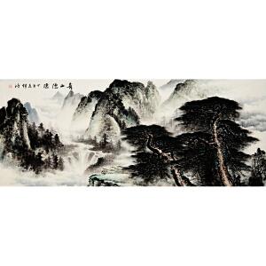 李锦鸿《青山隐隐》省美协会员 有作者本人授权 2.4米巨幅精品