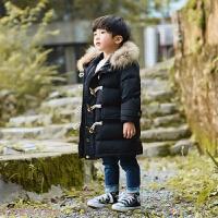 冬季2018新款儿童毛领羽绒服中长款女童加厚男童宝宝保暖外套潮白鸭绒秋冬新款