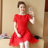 蕾丝连衣裙女士夏季新款女装修身收腰显瘦中长款短袖红色裙子