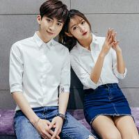夏季2018情侣装衬衫中袖五分袖 修身情侣半袖衬衫 韩版亲少年衬衣
