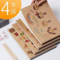 加厚牛皮线圈图画本 2-3-4-5-6岁幼儿园宝宝儿童小学生用学校A4大号空白美术涂色绘画画涂鸦素描纸绘本子文具