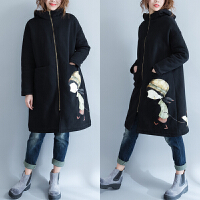 冬季新款大码女装显瘦加绒连帽卡通卫衣女宽松加厚文艺开衫外套潮