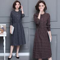 秋季新款中长款长袖格子连衣裙女显瘦时尚文艺风裙子潮
