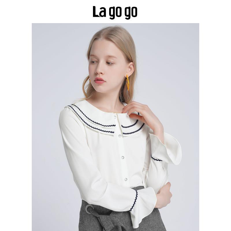 Lagogo2019秋冬新款白色娃娃领甜美衬衫女长袖休闲上衣HCCC439C14