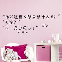 创意贴画墙贴纸卧室装饰床头墙纸自粘眼里出现你