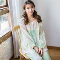 睡衣女士全棉春夏季长袖纯棉纱居家套装 格纹薄款宽松家居服韩版