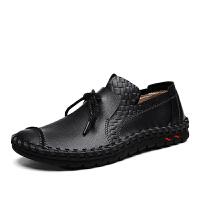 DAZED CONFUSED2017秋冬新款英伦男士休闲鞋 头层牛皮拉线皮鞋 懒人舒适套脚