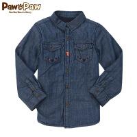 【秒杀价:90】Pawinpaw宝英宝小熊童装冬季款男童加绒牛仔衬衫