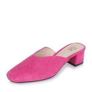 Tata/他她2017夏羊皮绒面小v口粗跟女穆勒鞋后空凉鞋Y1718BH7