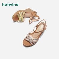 【4.4-4.6 1件3折】热风学院风女士印花坡跟凉鞋一字扣带时装凉鞋H55W9207
