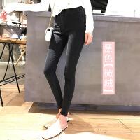 黑色牛仔裤女加绒秋冬季2018新款韩版显瘦高腰九分裤紧身小脚裤子