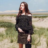 一字肩上衣女新款韩版甜美时尚仙气质长袖碎花雪纺衬衫