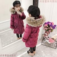 童装女童冬装2018新款儿童棉衣中长款绒棉袄外套加厚羽绒 藏青色