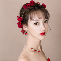 结婚礼婚纱礼服红色手工配饰品新娘头饰日韩发饰项链套装