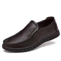 DAZED CONFUSED男鞋软底皮鞋春秋季中老年爸爸鞋圆头防滑中年人休闲鞋透气一脚蹬