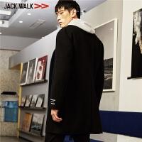 拉夏贝尔男装Jackwalk羊毛大衣冬季新品翻领中长款毛呢外套男