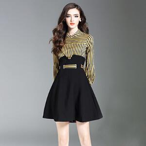 哆哆何伊2018新款女装春装条纹假两件连衣裙针织雪纺小黑a字裙子修身显瘦