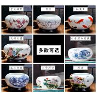 家居桌面摆件陶瓷鱼缸青花瓷笔洗金鱼乌龟缸睡莲碗莲花盆