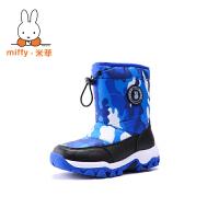 米菲女童靴子秋冬2017新款男童鞋短靴韩版加绒保暖儿童雪地鞋