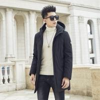 羽绒服韩版青年2019男冬季新款中长款连帽纯色外套保暖上衣棉服。