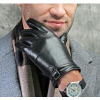 商务开车头层羊皮 保暖冬季加厚 皮手套男简约男士真皮手套