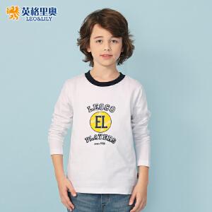 2018秋装新款男童圆领白色T恤中大儿童印花大码打底衫9-13岁