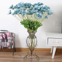 欧式落地玻璃花瓶客厅电视柜仿真花插花摆件乔迁装饰品结婚礼物