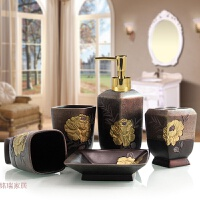 洗漱套装卫浴套件浴室用品 欧式卫浴五件套创意礼盒非陶瓷