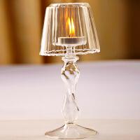欧式透明玻璃台灯 烛台 家居摆设 送朋友礼品