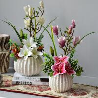 仿真花摆件新中式餐桌客厅摆设素烧陶瓷花瓶玉兰花百合花假花套装SN7572