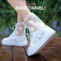 �涿烙晷�女防水套加厚耐磨下雨鞋子套�W生透明水鞋防滑�和�雨靴套