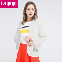 Lagogo2017春装新款韩版开衫女长袖圆领薄外套百搭针织衫修身披肩