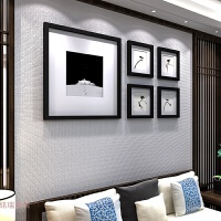 实木质照片墙装饰创意客厅餐厅相片墙中式文艺相框墙挂墙组合 黑框【小鸟画芯】