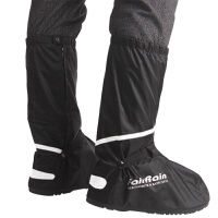 长款雨鞋套 高筒加厚耐磨底雨靴 雨天防水鞋套男女款防雨鞋套 黑色