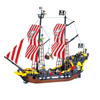 儿童智力拼装积木男孩玩具加勒比海盗船系列黑珍珠模型礼物