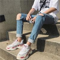 夏季新款男士破洞牛仔裤修身小脚裤韩版潮流九分裤休闲铅笔裤