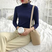 纯色半高领打底衫女韩版秋冬季新款长袖内搭上衣学生百搭修身T恤