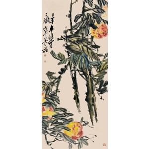 吴俊卿 (款)寿桃(日式装裱) 附出版《绘珍雅集》 中国书籍出版社 p2 D6
