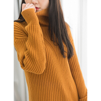 50%羊毛 坑条纹理 厚实款宽松廓形 高领针织衫毛衣女K0/4/18