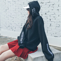 情侣卫衣女 ulzzang韩版学生宽松bf加绒带帽原宿风长袖上衣中长款
