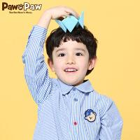 【秒杀价:100元】Pawinpaw卡通小熊童装春款男童休闲上衣中小童条纹衬衫纯棉