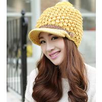 新款 保暖鸭舌帽子 韩版潮秋冬季毛线帽加厚护耳帽女士冬天