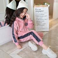 女童冬装双面金丝绒套装2019新款洋气儿童加绒加厚运动大童两件套