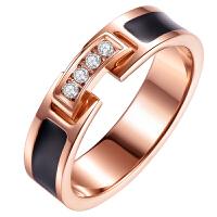 日韩潮人镀18K金钛钢食指戒指女 大气时尚个性指环学生网红不易掉色 美号4# 戒圈4.7-4.8cm专柜8-9# 大款