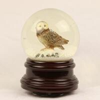 圣诞水晶球能量球水球猫头鹰 摆件雪花飘雪旋转音乐盒334 13.5*13.5*16.5