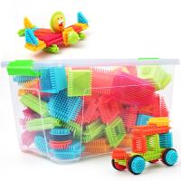 儿童颗粒塑料拼装插鬃毛刺刺猬积木1-2男女孩宝宝3-6周岁玩具